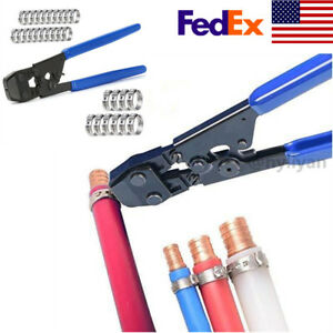 For Pex Connections Pipe Cinch Crimping Tool Stainless Steel With Clamp Blue Us