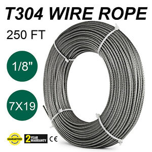 250ft 1 8 7x19 Wire Rope Cable Push pull Heat Resistance Durable