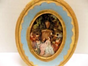 Vintage Oval Gold Florentine Small Portrait Picture Frame Gilt Print Italy 4x3