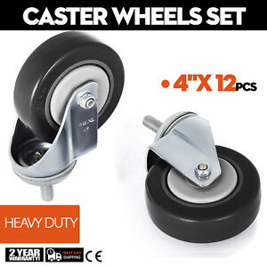 12 Pack 4 Inch Stem Casters Wheels Durable Pu Polyurethane Wheels