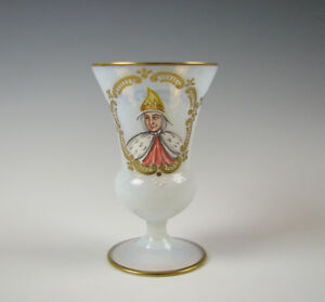 Antique 19th Century Hand Enamel Opalescent Glass Footed Beaker Tumbler