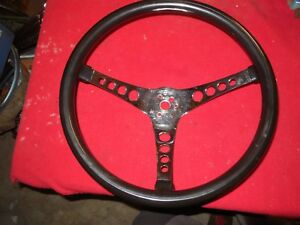Vintage Superior Black Vinyl 3 Spoke Steering Wheel Gasser Boat Van Race Car