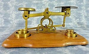 Antique English Postal Letter Brass Scale On Wood Base Weights