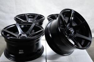 15x8 4x100 Black Wheels Fits Honda Civic Insight Mini Cooper Jetta Xb 4 Lug Rims