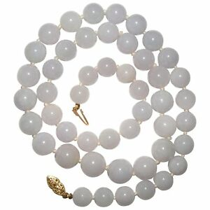 Vintage Untreated Natural White Lavender Jade Nephrite Beaded Necklace