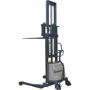 Strongway Semi electric Pallet Stacker 2200 lb Capacity 98in Max Lift