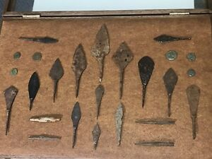 Medieval Spearheads Arrowheads And Coins Collection 100 400 Ad