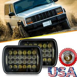 Pair 240w 7 x6 Cree Led Headlight H4 Hi lo Drl For Jeep Cherokee Xj H6014 h6054