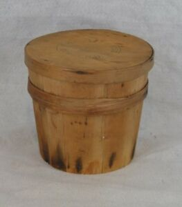 Firkin Bucket Pantry Box Primitive Wood Handmade Derry Nh Original Antique 1800