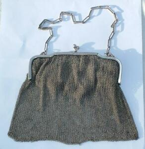 Heavy 183g Antique Sterling Silver Chain Mail Mesh Purse 1919 Hilda Wallis Lot 2