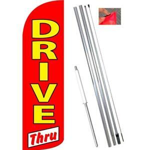 Drive Thru Windless Feather Banner Flag With Bundle Option 3 X 11 5 Feet