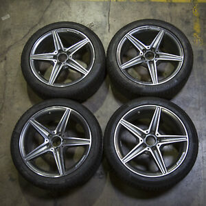 Set Of 4 Oem Mercedes Benz Amg Rims Staggered Alloy Wheels Continental Tires