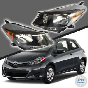 Fits For 2012 2014 Toyota Yaris Hatchback Black Headlights Set Lh rh