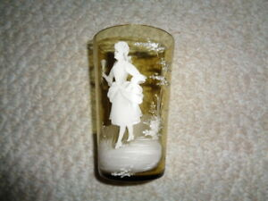 Antique Mary Gregory Amber Glass Tumbler Personalized Auntie Cherry Lady Dress