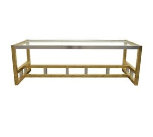 Vintage Italian Brass And Chrome Coffee Table