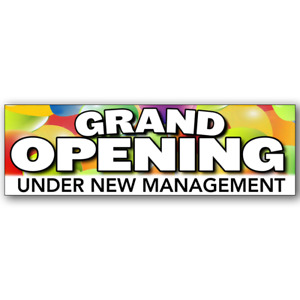 Grand Opening Under New Management Vinyl Banner size Options