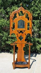 Walnut Victorian Gothic Revival Hall Tree Large Iron Shell Shaped Drip Pan C1875