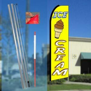 Ice Cream Flutter Feather Banner Flag With Bundle Option 3 X 11 5 Feet