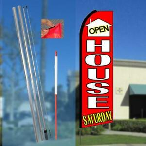 Open House Saturday Flutter Feather Flag Kit Bundle flag Pole
