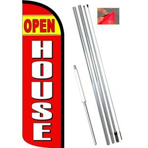 Open House Windless Feather Flag Kit Bundle flag Pole Ground Mount