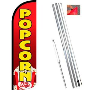 Popcorn Windless Feather Flag Kit Bundle flag Pole Ground Mount