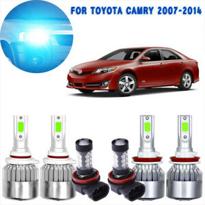 6x Ice Blue Cob Led Headlight Hi low And Fog Light Set For Toyota Camry 07 2014