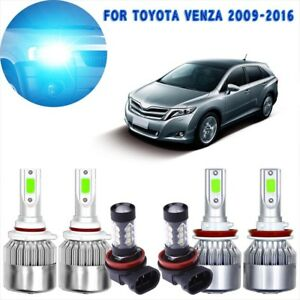 6x Ice Blue Cob Led Headlight Hi low And Fog Light Set For Toyota Venza 09 2016