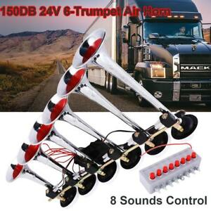 Super Loud 150db 6 Trumpet Air Horn For Car Truck Lorry Boat Atv 8 Sounds 24v