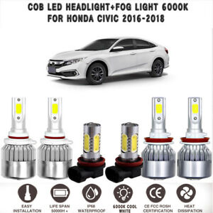 6x White 6000k Cob Led Headlight Hi lo Beam fog Light For Honda Civic 2016 2018