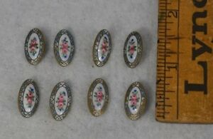 Enamel Cloisonn Sewing Buttons Oval Shank 8 Match Old Antique Victorian