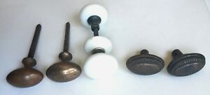 Antique Lot Of 6 Door Knobs 4 Brass 2 Porcelain Knobs With Stems