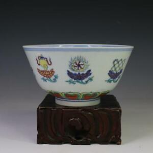 China Antique Porcelain Ming Chenghua Doucai Lotus Eight Treasures Bowl