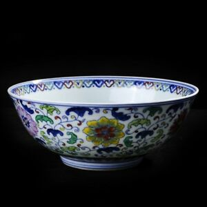 China Porcelain Jingdezhen Blue White Doucai Yongzheng Thin Flower Bowl