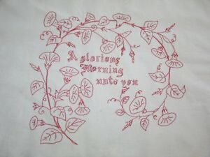 Victorian Layover Sham Antique Pillowcase Red Work Embroidery Morning Glories
