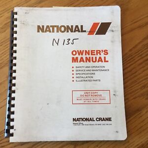 National N135 Truck Crane Service Manual Part Operation Maintenance Knuckle Boom
