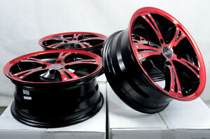 15x6 5 4x100 4x114 3 Red Wheels Fits Mitsubishi Lancer Galant Civic 4 Lug Rims