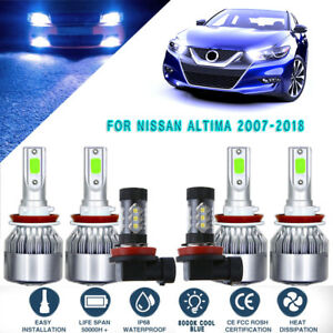 6x 8000k Ice Blue Cob Led Headlight Hi low fog Light Set For Nissan Altima 07 18