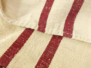 Vtg Antique Dark Burgandy Stripe European Hemp Linen Feed Sack Grain Bag 20x59