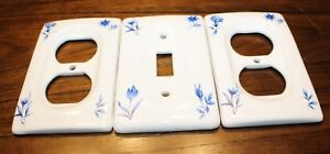 Set Of 3 Vintage White With Blue Flowers Porcelain Switch Plate Outlet Covers