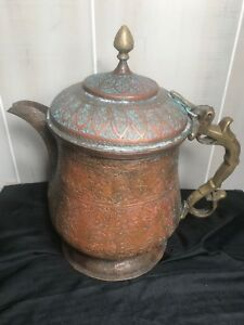Antique Middle Eastern Etched Copper Brass And Steel Coffee Pot Or Kettle 13