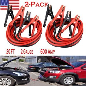 2 set Power Jumper Booster Cables Commercial Car Truck Motor Battery 2gauge 20ft