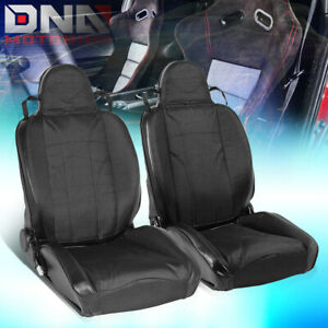 Pair Of Full Reclinable Black Stripe Woven Fabric Sporty Bucket Race Racing Seat