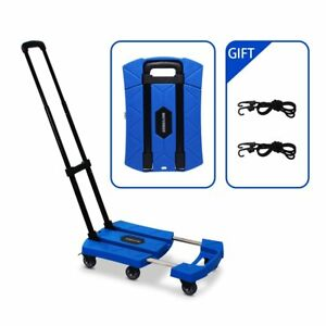 Portable Folding Luggage Cart With 6 Wheels And 2 Free Rope Upgrade Large Wheels