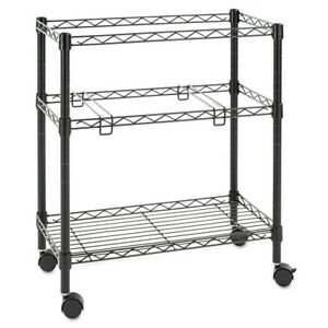 Alera Two tier Rolling File Cart 26w X14d X 29 1 2h Black Fw601426bl New