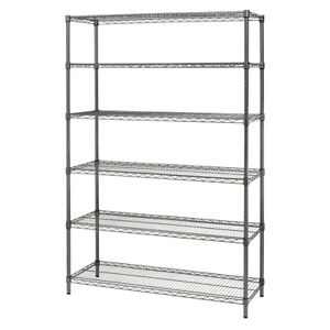 Alera Commercial Wire Shelving Six shelf Black Anthracite Sw664818ba New