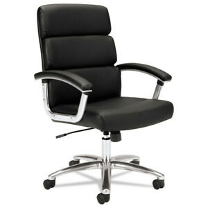 Basyx Vl103sb11 Mid back Leather Padded Computer Chair For Office Desk Black New