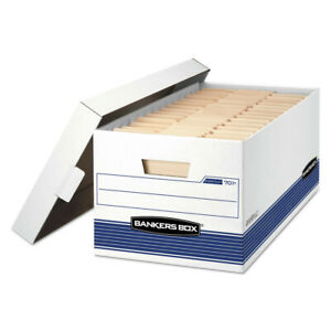 Fellowes Stor file Storage Box Letter Lift Lid White blue 12 ctn 701 New