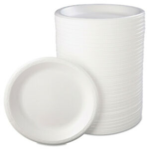 Genpak Foam Dinnerware Plate 10 1 4 Dia White 125 pack 4 Packs carton 810