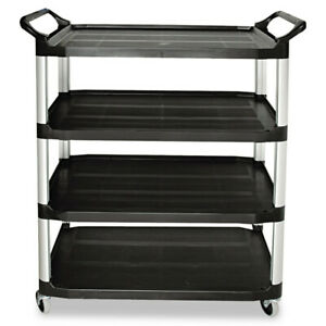 Rubbermaid Open Sided Utility Cart 4 shelf 40 5 8wx20dx51h Black 409600bla New