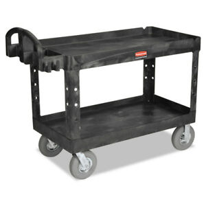 Rubbermaid Heavy duty Utility Cart Two shelf 26wx55dx33 1 4h Black 4546bla New